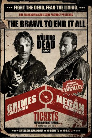 The Walking Dead Fight Poster, Madera, Varios, 65 x 3.5 x 3.5 cm