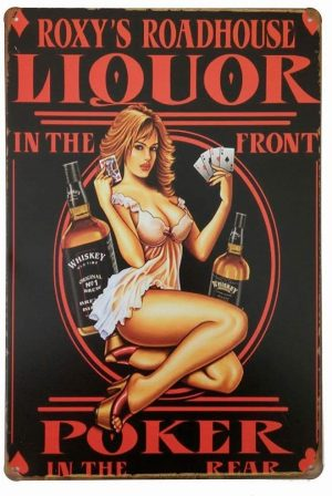 Whiskey Poker Pin Up Girl Póster de Pared Metal Creativo Placa Decorativa Cartel de Chapa